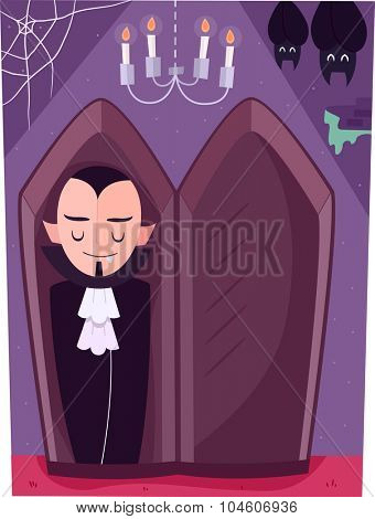 Illustration of a Vampire Sleeping in an Upright Coffin