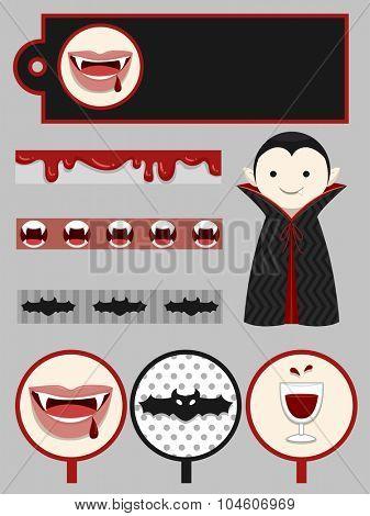 Group Illustration of Party Printables with a Vampire Theme