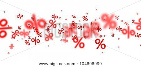 Sale background with blurred percent signs. Vector illustration.