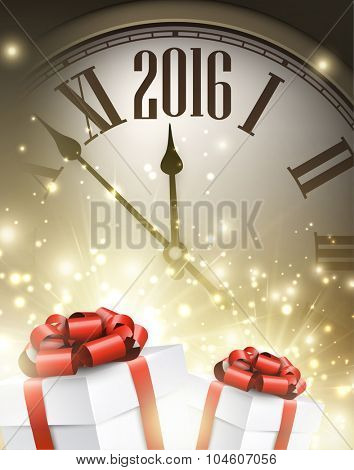 2016 New Year background with clock and gifts. Vector illustration.