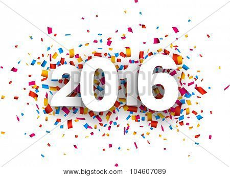 Happy 2016 new year with colour confetti. Vector paper illustration.