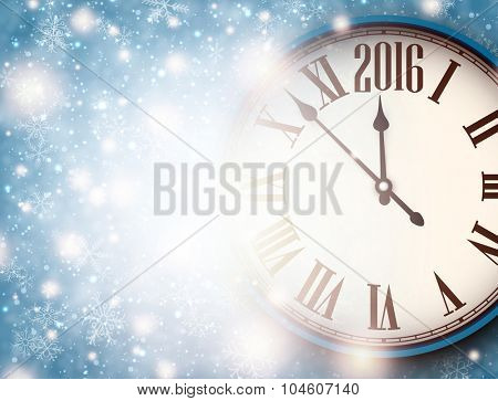 2016 New Year background with clock and snowflakes. Vector illustration.