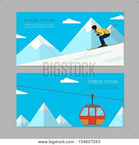 Concept skiing winter sport flat style.