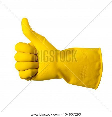 Yellow Glove For Cleaning On Mens Arm Show Thumbs Up, Isolated Over White