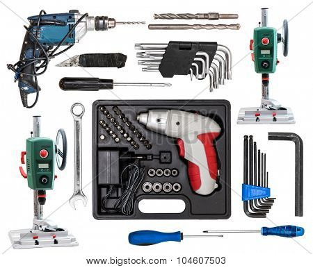 differend kinds of screwdriver isolated on white background