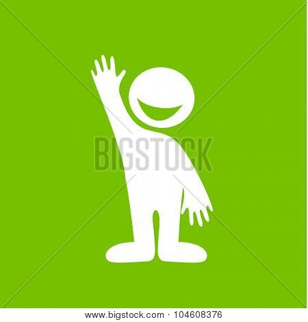 Welcome gesture - friendly sign. Happy smiling person invites.