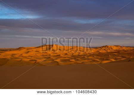 view of Erg Chebbi Dunes -  Sahara Desert - at sunset, in Morocco, Africa