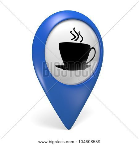 Blue map pointer 3D icon with a coffee cup symbol for cafes and bistros