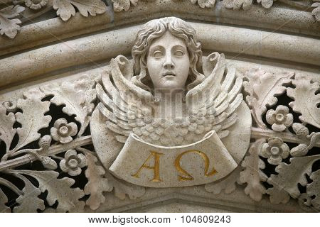 ZAGREB, CROATIA - JUNE 04: Angel on the portal of the cathedral dedicated to the Assumption of Mary and to kings Saint Stephen and Saint Ladislaus in Zagreb on June 04, 2011.