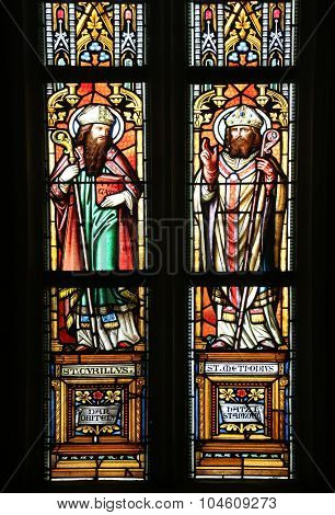 ZAGREB, CROATIA - NOVEMBER 21: Saint Cyril and Methodius, stained glass window in parish church of Saint Mark in Zagreb, Croatia on November 21, 2014