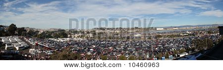 Candlestick Parking Lot Panoramic Before The Start Of 49Ers Game As People Are Entering Stadium