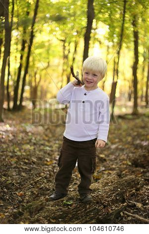 Young Child Playing With Stick In Autumn Forest
