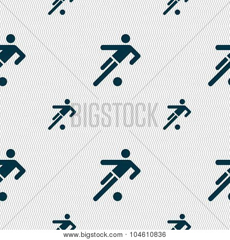 Football Player Icon. Seamless Pattern With Geometric Texture. Vector