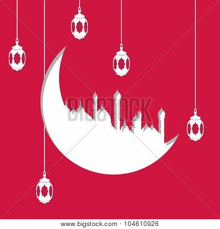 Arabic moon shape paper cutout with illustration of hanging lamps or lanterns on red background for