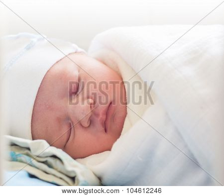 sleeping newborn baby. some hours after born