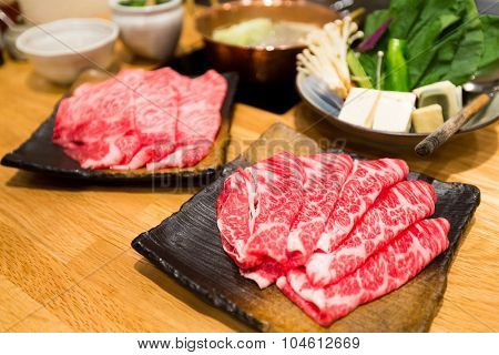 Fresh Beef and pork slices for Shabu shabu and Sukiyaki