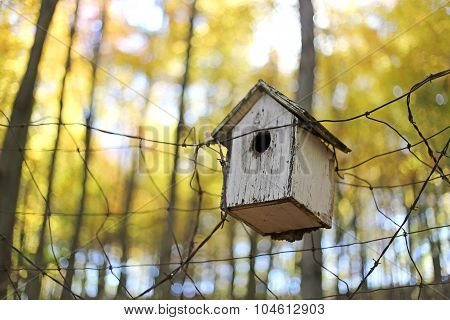 Old Homemade Birdhouse On Fence In Autumn Woods