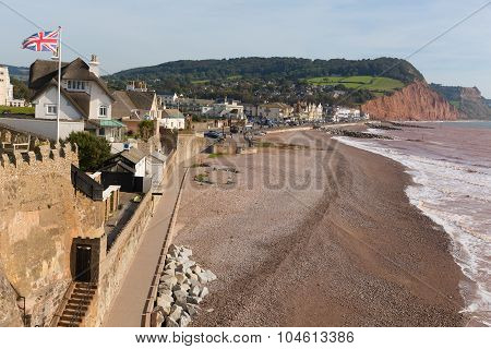 Sidmouth Devon beach and seafront English holiday resort Jurassic Coast