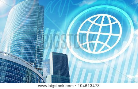 High-rise buildings with globe icon