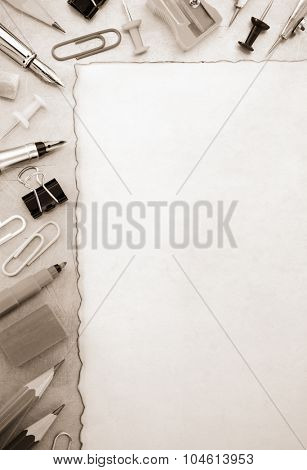 school accessories at old background texture