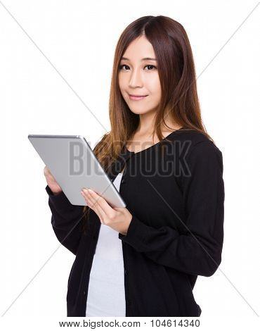 Asian Young woman use of tablet pc