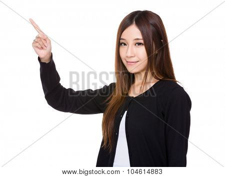 Woman showing finger up