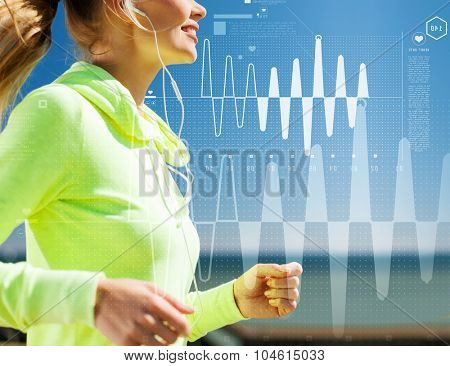 technology, sport, fitness, exercise and lifestyle concept - smiling woman doing running with earphones outdoors