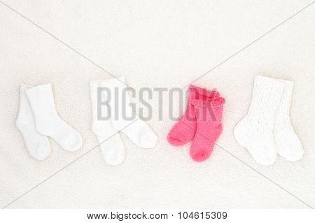 Little Baby Socks From Above - Studio Shot