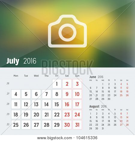 July 2016. Desk Calendar For 2016 Year. Vector Design Print Template With Place For Photo. Week Star