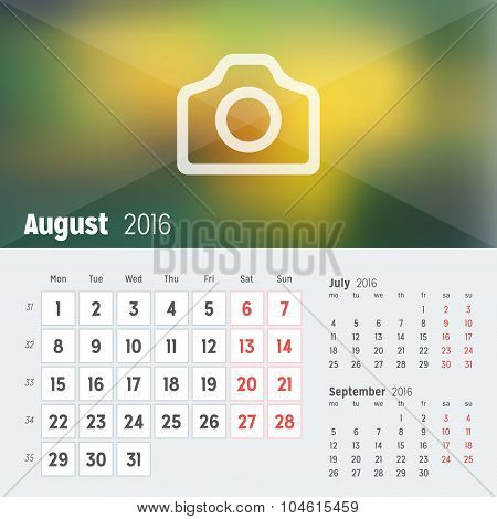 August 2016. Desk Calendar For 2016 Year. Vector Design Print Template With Place For Photo. Week St