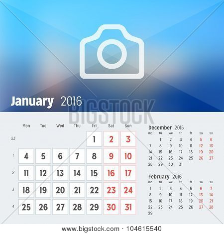 January 2016. Desk Calendar For 2016 Year. Vector Design Print Template With Place For Photo. Week S
