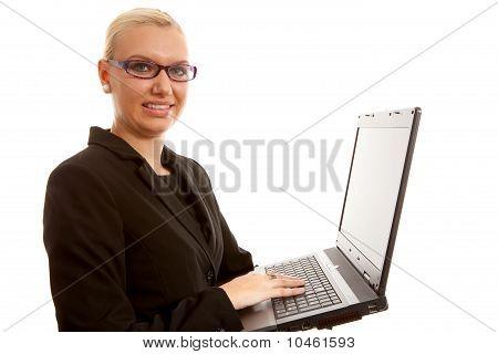 Blonde Secretary With Laptop