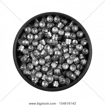 Air gun bullets in box, isolated on white background
