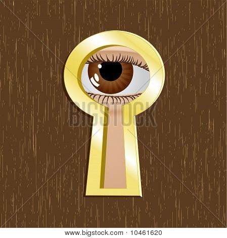 Door Keyhole Of Golden Metal With Eye