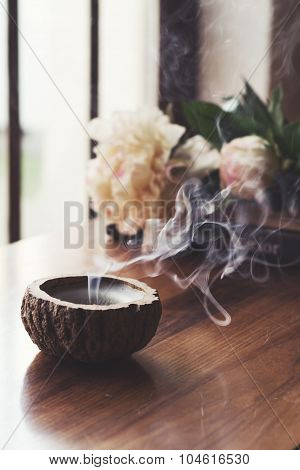 Blown Out Candle Smoke, In Home Interior Setting