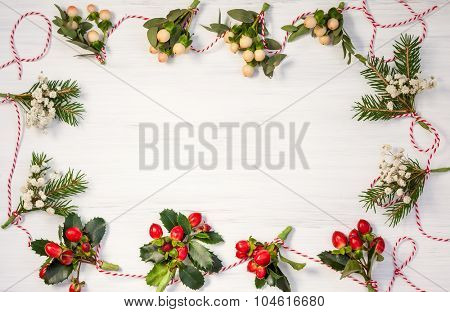 Christmas  garlands  made of fresh flowers,leaves,berries and fir branches