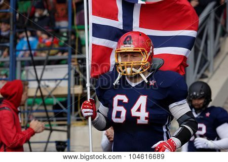 PUSHKIN, LENINGRAD OBLAST, RUSSIA - OCTOBER 10, 2015: American football team Norway enter to the qualifying match of European Championship 2016 against Russia. Russia won the match 20:0