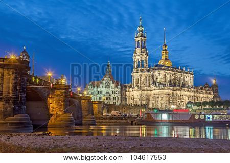 Dresden Skyline In The Evening, Germany