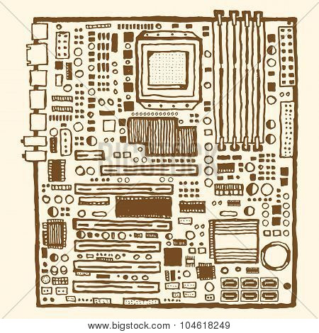 Motherboard hand drawn pen and ink