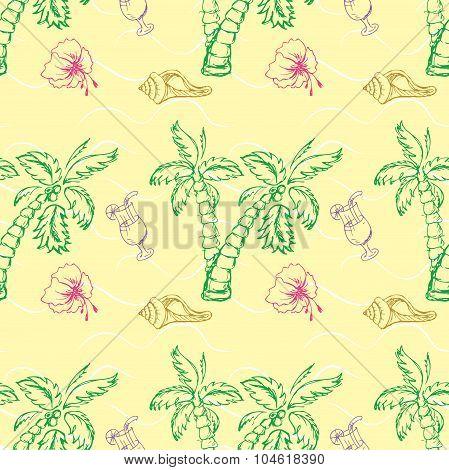 Sea Shell, Palm Tree Seamless Pattern.
