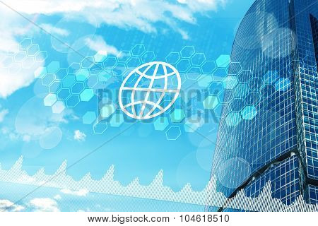 High-rise buildings with globe icon and graphs