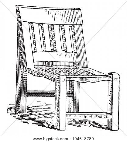 Egyptian joint chair, vintage engraved illustration. Private life of Ancient Antique family 1881.
