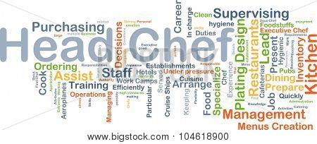 Background concept wordcloud illustration of head chef