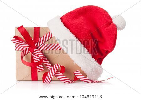 Christmas gift box with santa hat. Isolated on white background