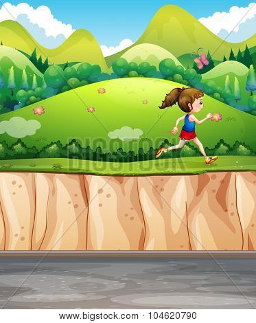 Woman running in the park illustration