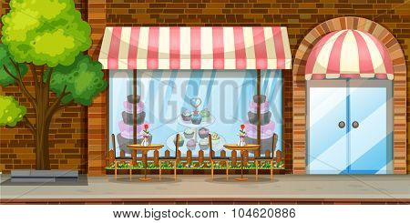 Street scene with bakery shop illustration
