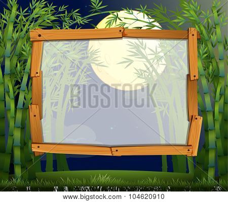 Border design with bamboo forest at night illustration