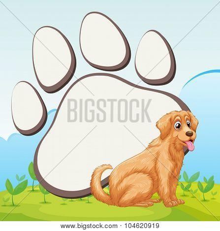 Cute dog and foot print illustration