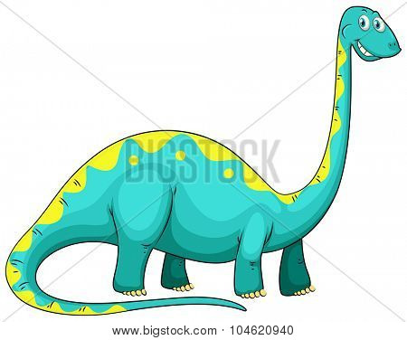 Blue dinosaur with long neck illustration