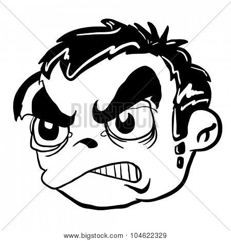 simple black and white angry boy cartoon head